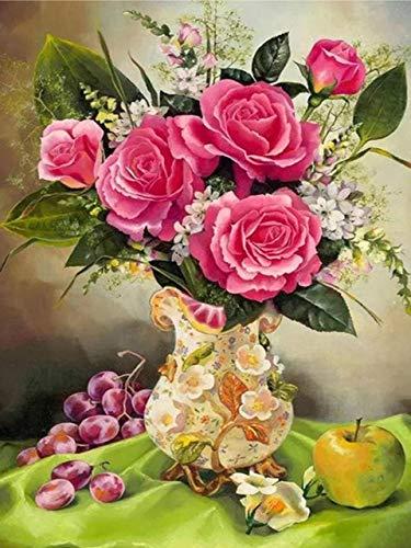 JIANGAA Diamant Malerei Kits, Blumen Diamant Malerei, Stickerei Bilder Strass Kreuzstich Kunsthandwerk für Home Wandtattoo 40x50cm