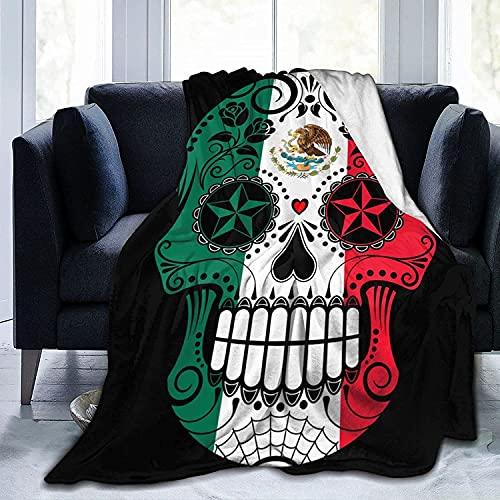Manta Bandera de México Sugar Skull Fleece Franela Mantas para sofá Cama Sofá Coche, acogedora Manta Suave Throw Queen King Tamaño Completo para niños, Mujeres y Adultos