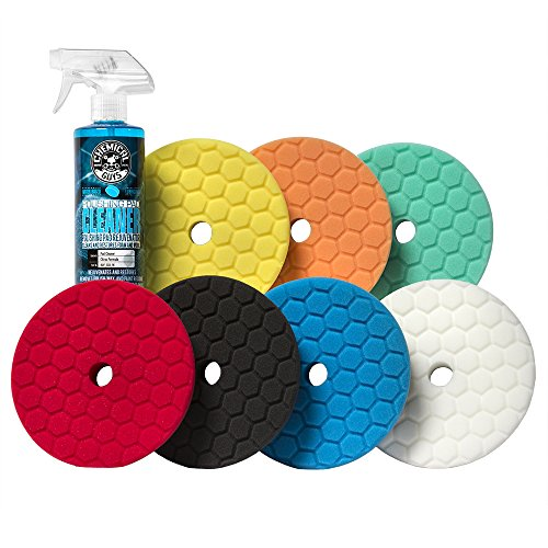Chemical Guys BUFX701 Hex-Logic Quantum Best of the Best Buffing and Polishing Pad Kit, 16 fl. oz (8 Items) (6.5 Inch Fits 6 Inch Backing Plate)