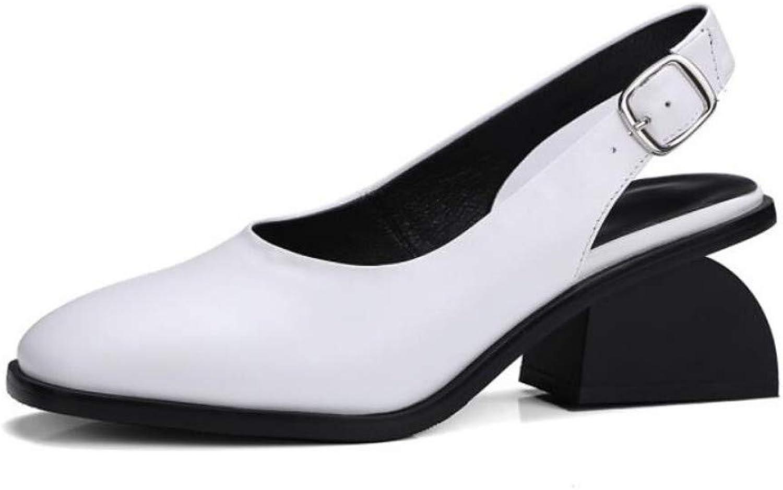 ZHZNVX Women's Nappa Leather Summer Sweet Minimalism Sandals Chunky Heel Round Toe White Black