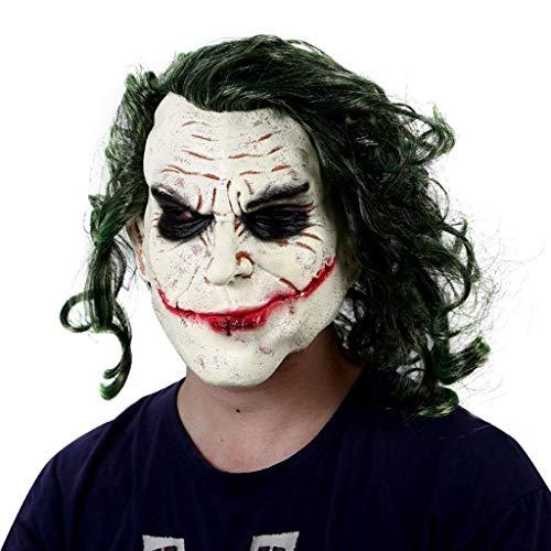 LMZJLU Latex Joker Clown Maske, Dark Knight Adult Joker Latex Maske Mit Haaren Gruseliges Kostüm Gruselige Horror Clown Maske Latex Vollkopf Gruselige Joker Maske Cosplay Latex Party, Grün