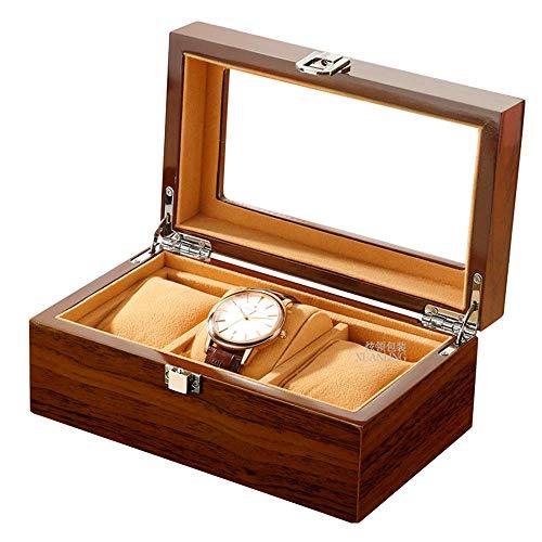 AJH Uhr Box Glasdeckel 3 Gitter Holzgehäuse Schmuck Display Organizer Uhren Aufbewahrungsbox Männer Frauen Sammlungen Fall Geschenk
