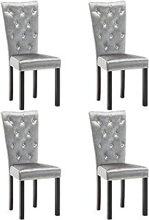 vidaXL 4X Sillas de Comedor de Terciopelo Plateadas Mobiliario para Casa Hogar