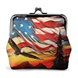 Flying Eagle American Flag Pat Vintage Pouch Girl -Lock...