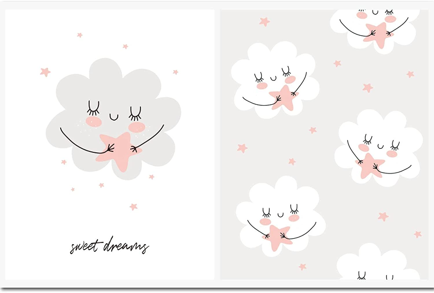 2 Pcs Fluffy Cloud And Stars low-pricing Nursery Poster Sweet Quotes Now on sale Dreams