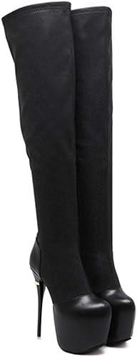 SIKESONG Chaussures Le Parti des Femmes Au-Dessus du Genou Bottes Hiver talons hauts Bottes Neige Bottes Chaussures Robe Longue