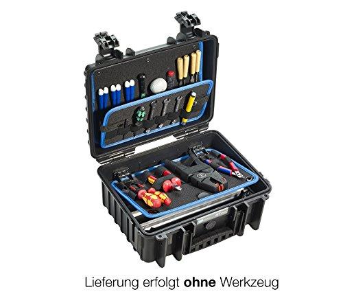 B&W Werkzeugkoffer JET 3000 mit Werkzeughalteschlaufen (Koffer aus PP, Volumen 11,7l, 33,3 x 23,5 x 15 cm innen) 117.16/L , ohne Werkzeug
