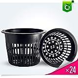 5 inch Net Pots Heavy Duty Round Cups Wide Rim Design - Orchids • Aquaponics • Aquaculture • Hydroponics Slotted Mesh (Cz All Star 24 Black Pots)