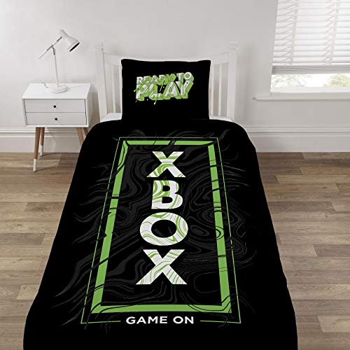Dreamtex Xbox Game on Green and Black Single Duvet Cover Reversible Bedding Set, Polycotton