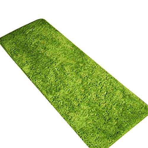CHENGYANG Tappeto Shaggy Pelo Lungo Resistente Uni passatoia Antiscivolo Tappeto tappeti da Cucina Tappetino da Bagno Verde 50cm x 180cm