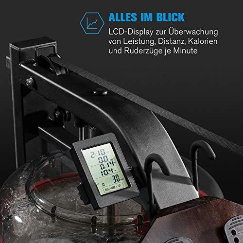 Capital Sports Stoksman 2.0 Wasserrudergerät – Ruderbank, gelenkschonendes Training, 120 cm Lange Doppel-Gleitbahn, Wasserwiderstand, Trainingscomputer mit LCD-Display, Echtholz - 3