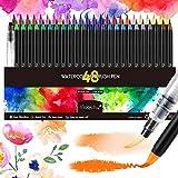 Magicfly 48 Pennarelli Acquerello, Punta Flessibile Morbida a Pennello Penna, Watercolor Brush Pen Set di pennelli per Calligrafia, diario , Pittura ad Acquerello