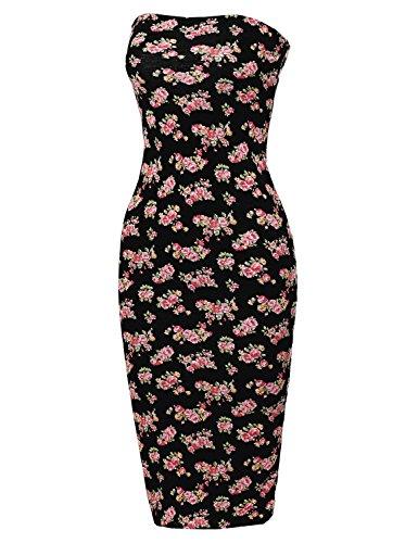 Women's Super Sexy Comfortable Floral Tube Top Body-Con Midi Dress