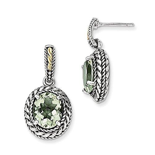 Pendientes colgantes de plata de ley con oro de 14 quilates de cuarzo verde envejecido