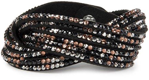styleBREAKER weiches Strass Armband, eleganter Armschmuck mit Strassteinen, Wickelarmband, 6x1-Reihig, Damen 05040005, Farbe:Schwarz/Bunt
