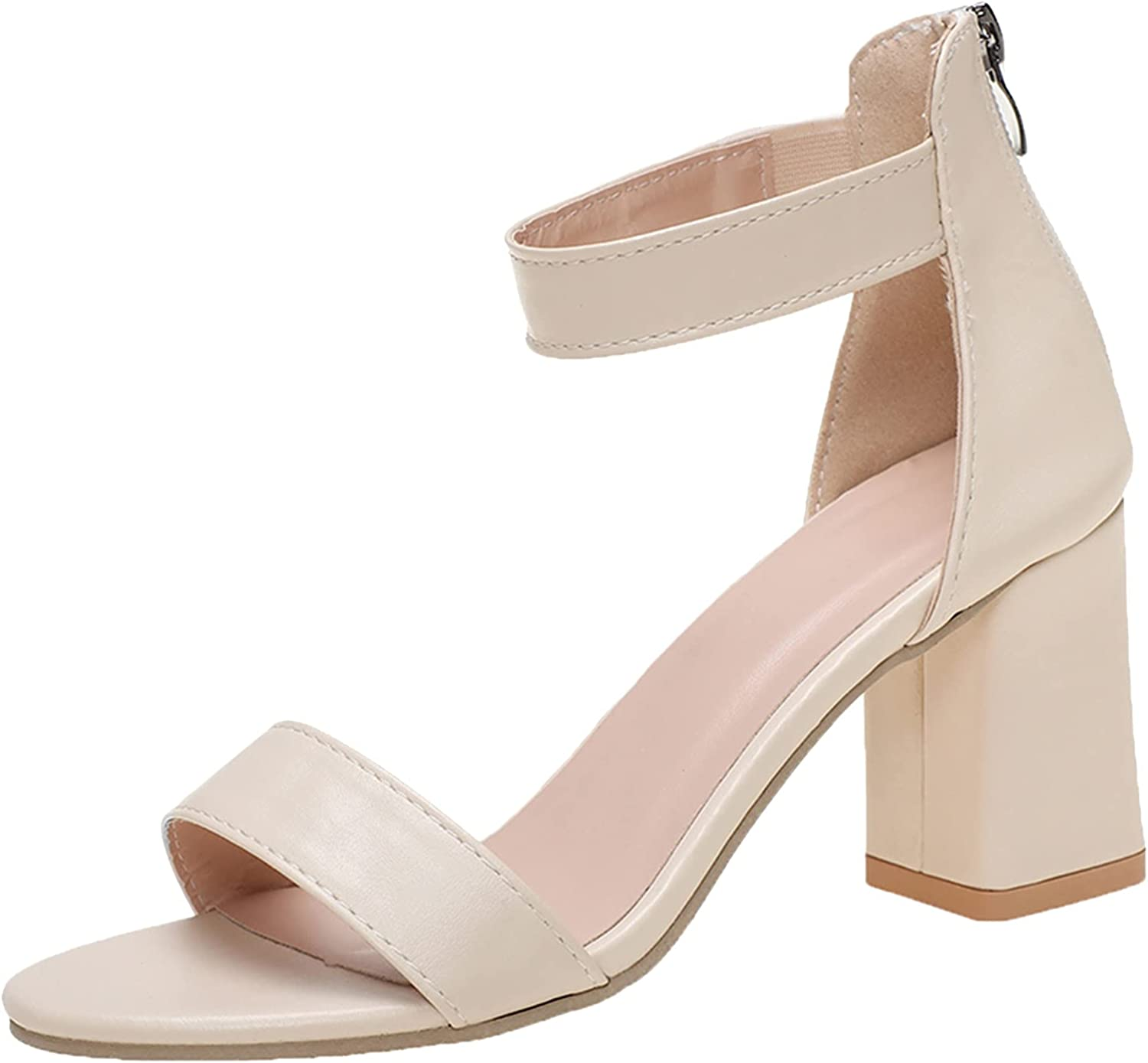 Women's Pumps Chunky High Heel Sandal Ankle Strap Block Open Toe Casual Shoes Breathable