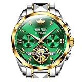 Swiss Brand Men Watch Automatic Self Winding Mechanical Green Face Luxury Business Tourbillon Sapphire Crystal Luminous Waterproof Watch