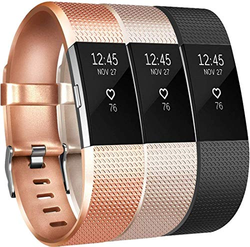 Yandu Substituição Para Fitbit Charge 2 Pulseira (3 Pack), Pulseiras Suave Acessório confortável Correias para Fitbit Charge 2