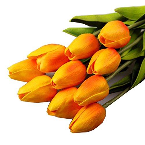 Igemy Tulpe-künstlicher Blumen Latex reale Noten Brauthochzeits Blumenstrauß Ausgangsdekor, 10pcs (Orange)