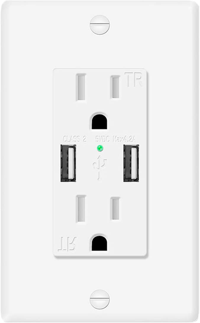 USB Wall Outlet, AllChinaFiber 4.2A USB Outlet White with 15A Duplex Tamper Resistant AC Receptacle,Screwless Wall Plate Included,1Pack