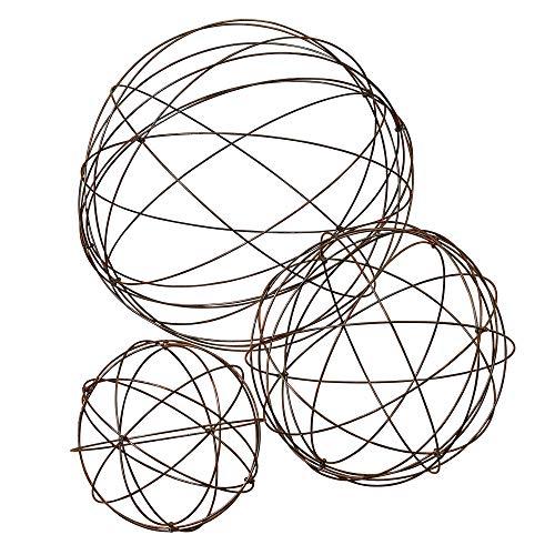GIL  S/3 Heavy Wire Garden Spheres Spring 28InL x 28InW x 28InH Brown
