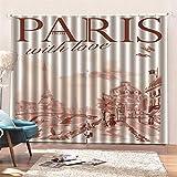 AKLIGSD Cortina Paris Romantico Cortinas Plisadas a Lápiz Cortinas Opacas de Reducción de Ruido para Dormitorio Sala de Estar Oficina del Hotel 150(W) x166(H) cm