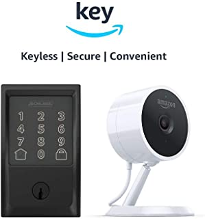 Schlage Encode Smart WiFi Deadbolt + Amazon Cloud Cam | Key Smart Lock Kit (Century in Matte Black)