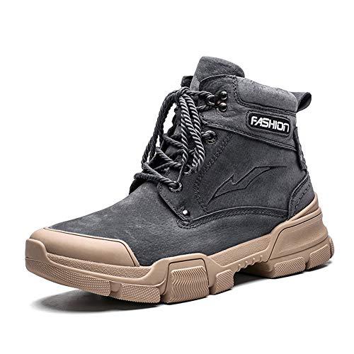 Clásico botas del tobillo de hombres Botas de trabajo con prevención de colisiones de encaje del dedo del pie for arriba los zapatos de cuero genuino Anti Slip vegano costura suela de goma de los homb