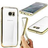 Urcover® Samsung Galaxy S7 Edge | Funda Carcasa Protectora Bordes con Espejo | TPU en Oro | Protección Completa Case Cover Smartphone Móvil Accesorio