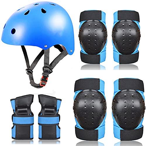 Fahrradhelm Kinder Protektoren Set für Jungen Mädchen Inliner Knieschützer Ellbogenschützer Einstellbares Sicherheitsset mit Gurt Schutzausrüstung Skateboard Radfahren (S, 7 Blau)