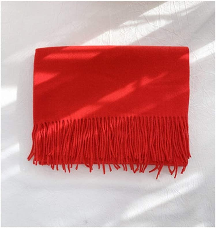 ZANZAN Fashion Scarf Ladies Scarf Large Cashmere Soft Silky Shawl Wrap in Solid Colors Thick and Warm for Friends 13 Colors Scarf Gift (Color : Red)
