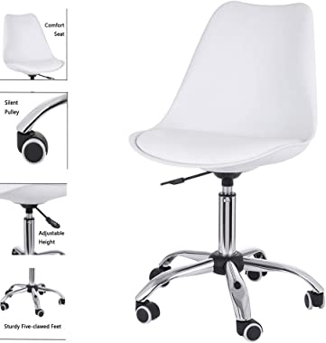 Armless Office Chair Ergonomic Mid Back Leather Computer Desk Chair, Adjustable Height Chair, 360° Swivel Chairs with Stainle