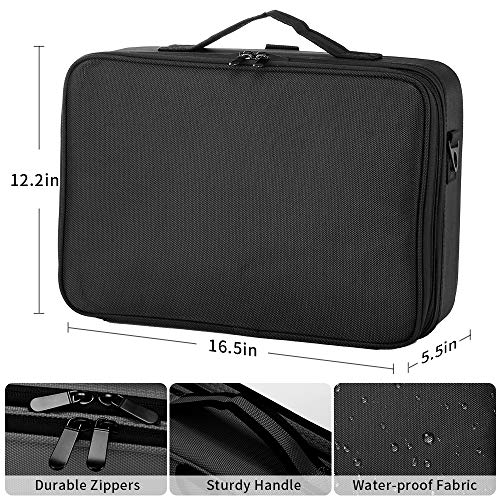 51noNJpM9xL - GZCZ 3 Layers Large Capacity Travel Professional Makeup Train Case Cosmetic Brush Organizer Portable Artist Storage bag 16.5 inches with Adjustable Dividers and shoulder strap for Make up Accessories