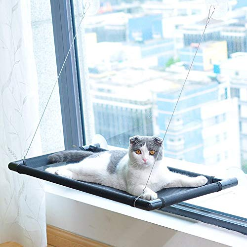 Dilmax Cat Perch Cat Window Perch Cat Window Hammock Bed Cat Window Seat Kitty Window Sunny Seat Durable Big Pet Perch with Upgraded 4 Big Suction Cups Cat Bed Holds Up to 60lbs