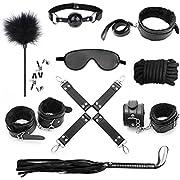 CKSOHOT SM Bondage Set BDSM Fesselset SM Sexspielzeug Extrem Betten Fesseln mit Handschellen mit Augenmaske für Paare Gays, für Einsteiger und Erfahr (black)