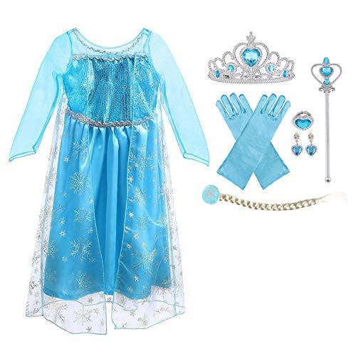 URAQT ELSA Kleid Prinzessin Kostüm Kinder Mädchen, ELSA Krone Kleid Kinder 9-teiliges Set mit Diadem Handschuhe Zauberstab usw für Weihnachten Verkleidung Karneval Halloween Größe 120…