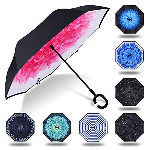 HISEASUN Parapluie Inversé Innovant Anti-UV Double Couche Coupe-Vent Mains Libres poignée en Forme C - Idéal pour Voyage et Voiture(Lotus rouge)
