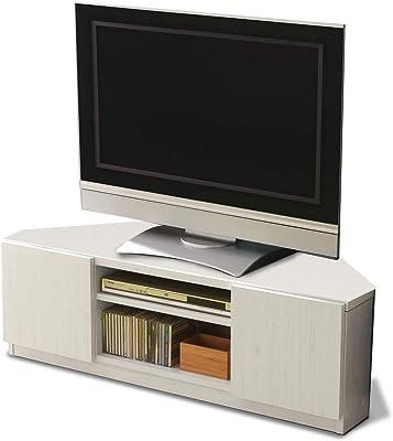 アイリスプラザ テレビ台 32型 コーナー テレビボード 背面収納 キャスター付 幅110㎝ 白 ホワイト