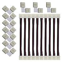 CESFONJER LEDストリップライトコネクタ、10mm幅 SMD5050 4ピンRGB LEDテープライトLタイプコネクタ(10個)、LEDテープ 延長用ケーブルコネクタ(10個)LEDテープと簡単接続、半田不要、使いやすい