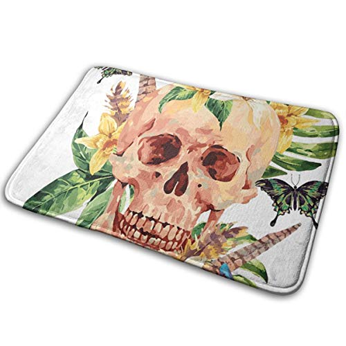 YudoHong Skull Boho Flowers Doormat Super Absorbs Mud Door Easy Clean Cotton Entrance Rug Pet Mat Machine