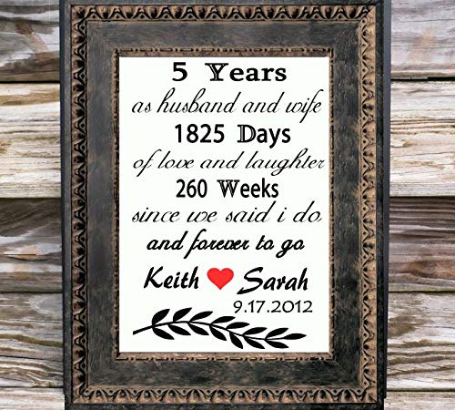 Amazon Com 5th Anniversary Gift For Couple Personalized Fifth Anniversary Print Couple Anniversary Gifts For Any Year 2 3 4 5 10 15 25 Canvas Fabric Wedding Anniversary Gift 5th Anniversary Gift For Parents Handmade