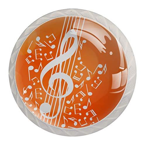 Xingruyun Tirador de Cajon Notas Musicales, Guitarra Tirador de Muebles Tirador de Puerta Tirador de Gabinete Tirador 4Pcs 3.5x2.8cm