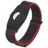 Nylon Kids Wristband Compatible with Apple AirTag, Bracelet Strap TPU Protective Case for Air Tag GPS Location Tracker, Anti-Lost Washable Watch Band for Toddler Baby Children Elders(Black Red)