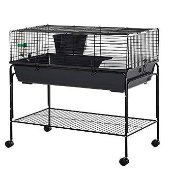 PawHut Small Animal Cage Rolling Guinea Pig Hutch w/Detachable Stand Storage Shelf Feeder Water Bottle 39  L x 22  W x 37  H
