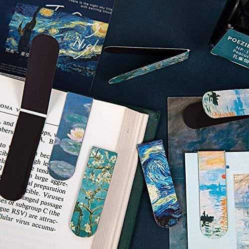 BLOUR 1Pcs Segnalibri magnetici creativi Van Gogh Letteratura Serie d'ArteLibri Decorazione Fai da Te Mark Frigo Sticker Cancelleria