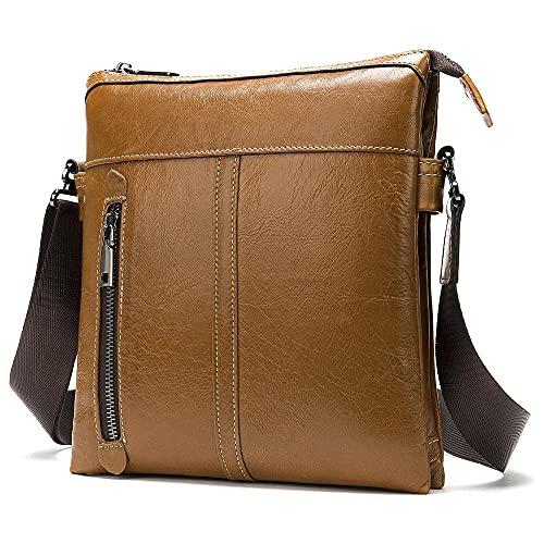 Borsa a tracolla da uomo verticale in pelle cartella porta tablet 9.7 pollici borsa messenger-Marrone giallastro