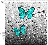 XCBN Arte 3D Mariposa Flor Cortina de Ducha Azul Verde Mariposa Flores y Hierba Cortina de Ducha Planta Cortina de Ducha A1 150x180cm