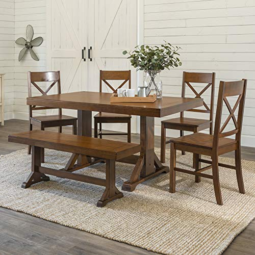 WE Furniture Modern Farmhouse Wood X-Back Kitchen Dining Chairs, 6 Piece,...