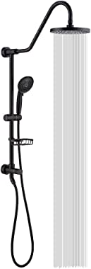 """Shower System with 8"""" Rain Showerhead, Homelody 5-Function Hand Shower 59"""" Stainless Steel hose, Adjustable Dish, Oil"""