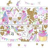 Pegatinas de pared con diseño de unicornio, diseño de unicornio, color arcoiris y estrellas, pegatinas de pared para niñas, bebé, niños, dormitorio, sala de juegos